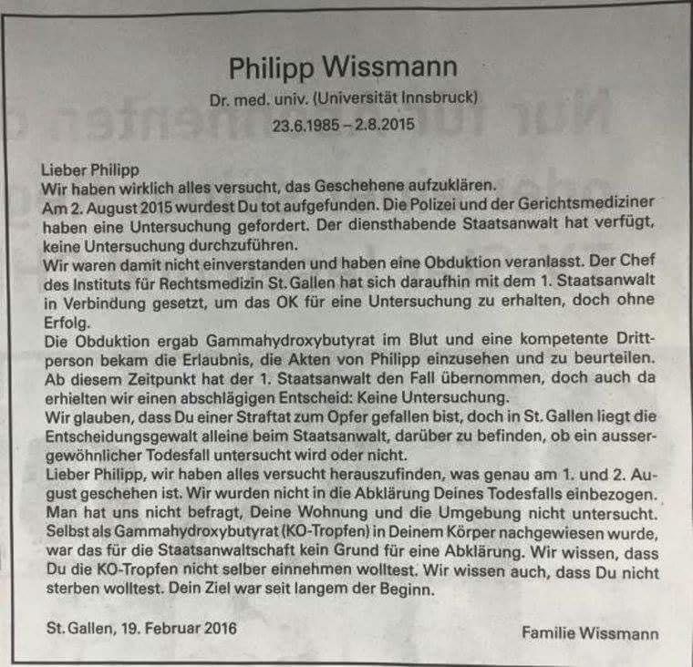 """Ungewöhnliche (Todes-) Anzeige in der Zeitung """"St. Galler Tagblatt"""" (Schweiz)"""