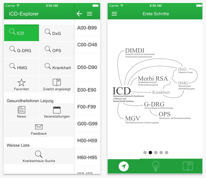 Die 'ICD-Explorer' App aus dem App Store von Apple
