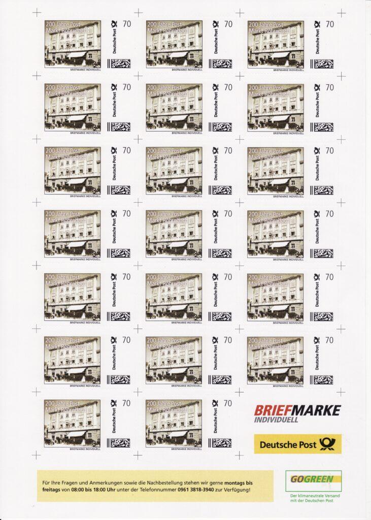 Individualmarke anlässlich 200 Jahre Post im Markt Röhrnbach