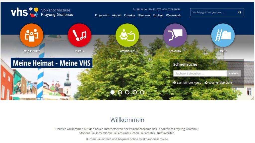 Startseite Internetauftritt vhs