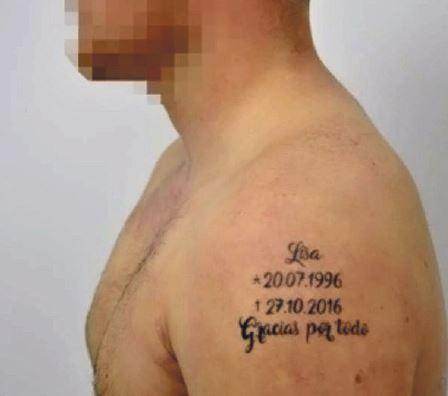 Diese frisch gestochene Tätowierung des mutmaßlichen Täters sorgt im Moment für Aufsehen (Foto: Polizei Spanien)